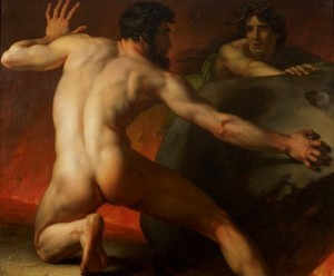 Sisyphe roulant éternellement son rocher (1819), Alexandre-Denis-Abel de Pujol (Frankreich 1787-1861).