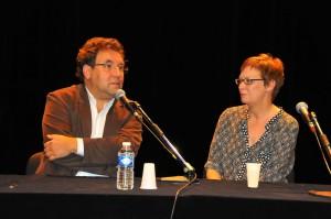 Regisseur Joel Calmettes und Anne-Kathrin Reif beim Gespräch mit dem Publikum in Aix. ©Foto: Bernhard Mahasela