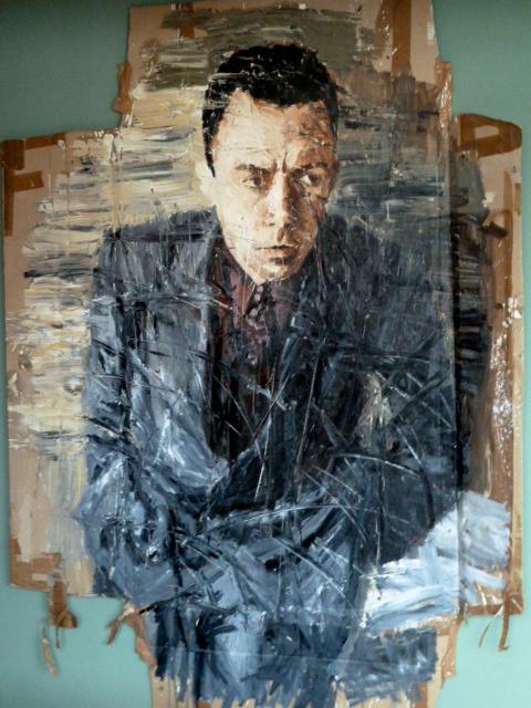 Camus-Porträt von Oliver Jordan im Kunsthotel Arte Luise in Berlin. ©Foto: Anne-Kathrin Reif