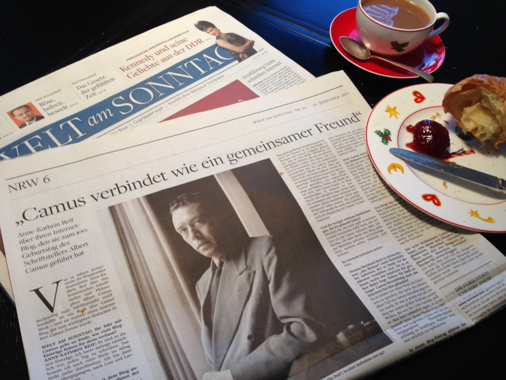 Frühstück mit Welt am Sonntag. Im NRW-Teil findet sich heute ein großes Interview zum Camus-Blog. ©Foto: Tillmann Schaub