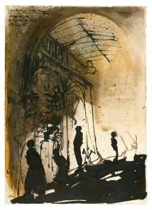 Jochen Stücke: Spaziergänger in der Passage, 2008, Tusche laviert, 36 x 26 cm. ©Foto: VG Bild-Kunst, 2014