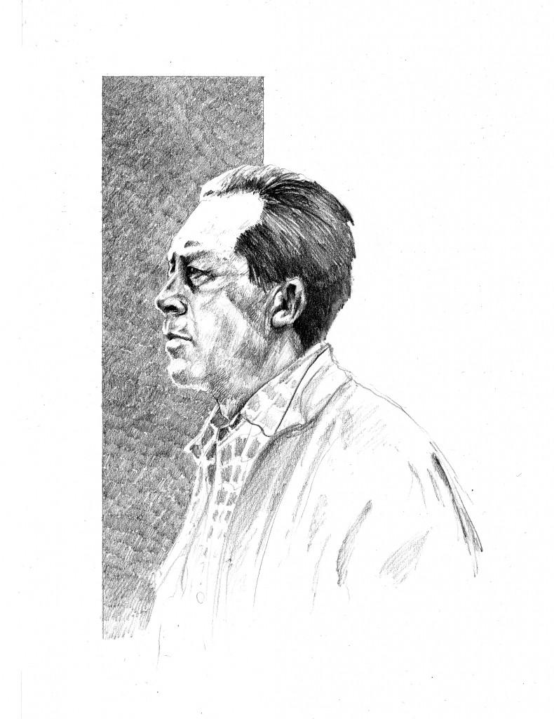 Albert Camus – Zeichnung von Moritz Reinoß. ©Moritz Reinoß